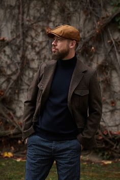 """The jacket """"Le Milord"""" is inspired by military officer jackets and features 4 patch pockets with flaps + 1 inside pocket. wool Redstart Tweed by MARTON MILLS, England) cotton (Lining; Military Officer, Tweed Blazer, Cold Day, Herringbone, Dress To Impress, Work Wear, Flannel, Hipster, Mens Fashion"""