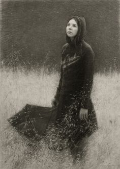 """Julio Reyes - """"The Stars Above"""" Charcoal drawing on paper"""