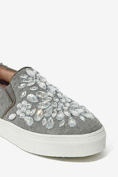 Sneaker with rhinestone beading embellishment.