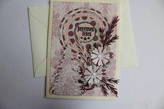 carte de voeux double écrue faite main rose et gris à pois