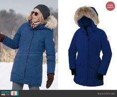 Elizabeth's blue parka with fur trim hood on Madam Secretary.  Outfit Details: http://wornontv.net/47640/ #MadamSecretary