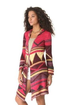 Free People Lima Long Pattern Hooded Cardigan in Red Combo (Large) Free People. $168.00