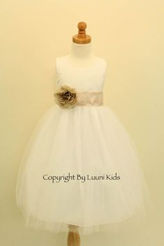 Flower Girl Dress - IVORY Tulle Dress with CHAMPAGNE Sash - Easter, Junior Bridesmaid, Wedding - From Baby to Teen (FGRPI) $29 @ etsy w green sash