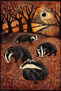 Welcome on down to Badgertown... (Darling little illustration and print by artist Ian MacCulloch) ~~ Houston Foodlovers Book Club