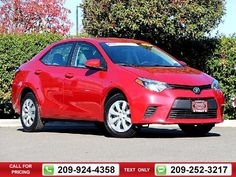 2014 Toyota Corolla LE 4D Sedan 45k miles Red Call for Price 45412 miles 209-924-4358 Transmission: Automatic  #Toyota #Corolla #used #cars #TracyToyota #Tracy #CA #tapcars