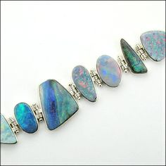 Opal Bracelet - Sterling Silver by Micky Roof for The Jewelbox in Ithaca, NY. I Love Jewelry, Jewelry Art, Jewlery, Jewelry Design, Metal Clay Jewelry, Moonstone Jewelry, October Birth Stone, Designer Jewelry, Glitters
