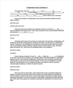 Free print contractor proposal forms the free printable simple construction contract 8 construction contract template considering basic elements and making altavistaventures
