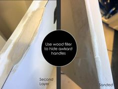 Make Shaker Kitchen Cabinet Doors on a Budget Use wood filler to hide awkward handles in old cabinet doors, Kitchen Cabinets On A Budget, Shaker Style Kitchen Cabinets, Shaker Style Kitchens, Refacing Kitchen Cabinets, Kitchen Cabinet Styles, Old Cabinets, Shaker Cabinets, Diy Kitchen, Kitchen Backsplash Peel And Stick