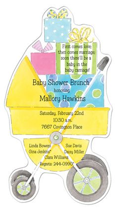 This Pram Die-cut Invitation from Picture Perfect can include embellishments which would make your shower way better than your friends'. Couples Wedding Shower Invitations, Baby Shower Invitations, Baby Shower Brunch, Baby Shower Parties, Gender Reveal Cupcakes, Denim Purse, Baby Shower Party Supplies, Baby Carriage, Perfect Couple
