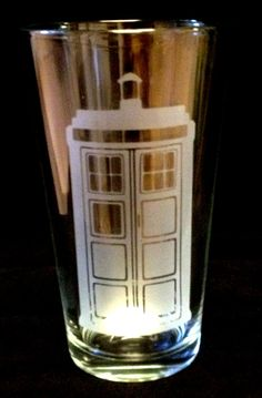 Doctor Dr Who Tardis Etched Pint Glass. $15.00, via Etsy.    I want it.
