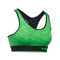 Look what I found on Black & Green Space Dye Armour Mid-Impact Sports Bra Racerback Sports Bra, Women's Sports Bras, Sport Bras, Under Armour, Clothes For Women, Black, Green, Awesome, Fashion