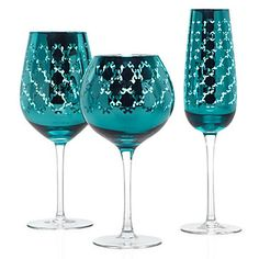 """Montecito Stemware in Aquamarine metallic.  Comes in sets of 4 matching.  Red wine, 9"""", 24 oz, White wine, 10"""" 24 oz, Flute, 11"""" 14 oz.  Snazzy!  From Z Gallerie"""