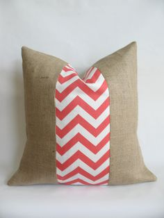 Coral Chevron Fabric and Burlap Pillow Cover. $18.00, via Etsy.