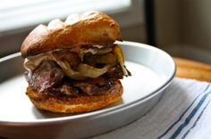 Bistro Skirt Steak Sandwiches with Caramelized Onions and Basil-Balsamic Mayo Recipe and Photo by Matt Moore.