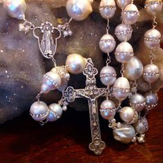 SPECTACULAR BAROQUE PEARL Rosary in Sterling Silver, Catholic Bridal Rosary, Wire Wrapped Rosary, Bride's Gift on Etsy, $459.00