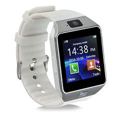 Bluetooth Smart Watch Phone - Smartwatch with Camera Pedometer Support SIM Card TF Card for iPhone IOS Samsung LG Android Smartphones (White Gold) Wrist Watch Phone, Watch For Iphone, Camera Watch, Camera Mic, Iphone 10, Ios Phone, Iphone Camera, Pixel Phone, Smartwatch Android
