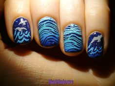 Sea by night :) Mroczne fale  Nail stamping http://matmajowe.blogspot.com/2015/05/multicoloured-stamping.html