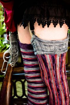 I have to make these, super sexy steampunk!  Ravelry: The Amplitude Vertical Striped Stockings pattern by Amanda M. Williams