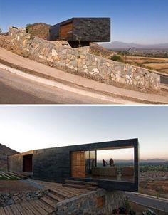 Built Despite Tiny Site: Small Stone Hillside Home Design