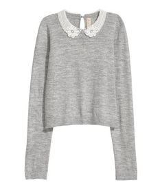 Sweater with Lace Collar | Gray | WOMEN | H&M US