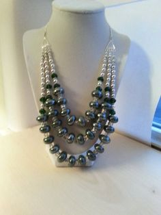 Emerald green and silver European beaded and crystal statement necklace/ Green and silverBib Necklace/ Triple stranded necklace on Etsy, $24.00