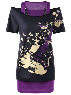 Off The Shoulder Guitar Print Top and Racerback Tank - PURPLE L