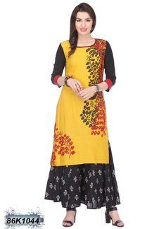 Designer Yellow Coloured Cotton Flex Kurti