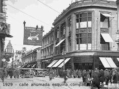 La Calle Ahumada esquina Compañía en 1929 Cerro Santa Lucia, Old Photos, Images, Street View, History, Travelling, Notebook, Gray, Vintage
