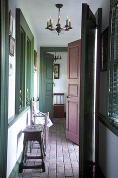 John Milner Architects, Inc - green trim, brick floor Brick Floor Kitchen, Kitchen Flooring, Wood Floor, Tile Floor, Colonial, Farmhouse Architecture, Prim Decor, Brick Flooring, Painting Trim