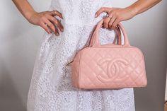 Lace #Gilar dress, pink #Chanel purse #spring ClothesHeaven.com