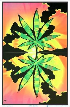 "Peace Bus Black Light Poster 23/"" x 35/"" Flocked Blacklight Pot Weed Marijuana"