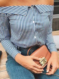 Trendy Stripe Print Off Shoulder Shirt Blouse Women's Best Online Shopping - Offering Huge Discounts on Dresses, Lingerie , Jumpsuits , Swimwear, Tops and More. Off Shoulder Outfits, Shoulder Shirts, Crop Top Outfits, Cute Outfits, Stylish Summer Outfits, Trendy Tops, Mode Style, Jacket Style, Pattern Fashion