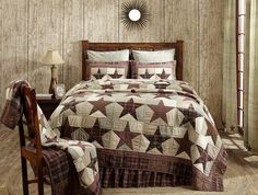 Give your bedroom a country makeover with our Abilene Star Queen Quilt - Primitive Star Quilt Shop https://www.primitivestarquiltshop.com/collections/abilene-star-bedding #primitivecountrybedroomsbeddingandaccessories