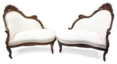 A Pair of Rococo Revival Laminated Rosewood Love Seats | Home Decor | Palm Beach Collections | December 1-2 in West Palm Beach