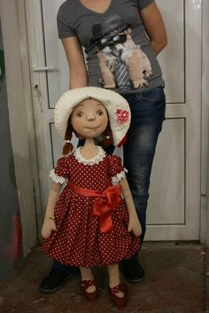 "Men handmade.  Fair Masters - handmade Dolls ""dress with polka dots.""  Handmade. So adorable!!"