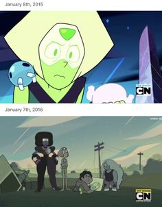 Peridot, Then and Now. Steven Universe