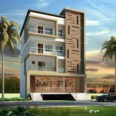 front elevation designs for duplex houses in india 3 Storey House Design, Duplex House Design, House Front Design, Modern House Design, Apartment Design, Facade Design, Roof Design, Exterior Design, Plan Design