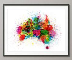Éclaboussures de peinture Australie carte Art Print par artPause