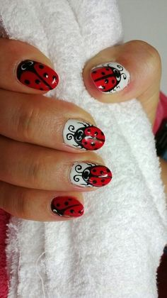 Lady Bugs Nails Nails And More Nails Pinterest Lady Bugs