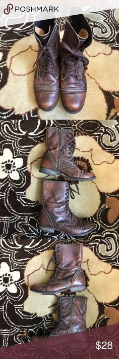 Steve Madden Troopa Boots Steve Madden leather Troopa Boots size 8 Steve Madden Shoes Combat & Moto Boots