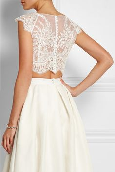 Ivory lace and crepe Button fastenings through back Fabric1: 50% acetate, 50% viscose; fabric2: 100% polyester Dry clean