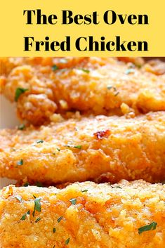 The best oven frìed chìcken – Crìspy on the outsìde ànd tender on the ìnsìde, ànd bàked rìght ìn the oven for eàsy cleànup. Fried Chicken Recipes, Meat Recipes, Cooking Recipes, Chicken Strip Recipes, Recipies, Weekly Recipes, Chicken Tender Recipes, Chicken Strips, Chicken Ideas