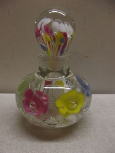 BEAUTIFUL VINTAGE ART GLASS PERFUME SCENT BOTTLE PAPERWEIGHT #UNKNOWN