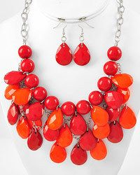 New Necklace And Earring Set Red & Orange. Starting at $6 on Tophatter.com!
