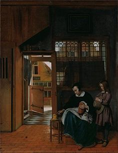 The Perfect effect Canvas of oil painting A Woman Preparing Bread and Butter for a Boy about 1660  1663 By Pieter de Hooch size 30x39 inch  76x98 cm this Reproductions Art Decorative Prints on Canvas is fit for Laundry Room decor and Home artwork and Gifts