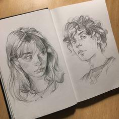 Kunst Inspo, Art Inspo, Art Drawings Sketches Simple, Portrait Sketches, Drawing Ideas, Arte Sketchbook, Sketch Painting, Diy Canvas Art, Aesthetic Art