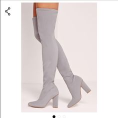 Missguided Over The Knee Gray Boots New