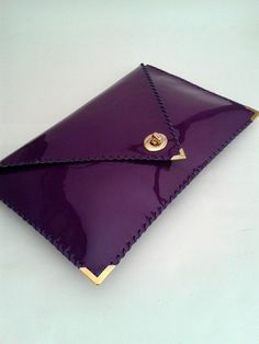 Handmade purple patent leather clutch by AnaKoutsi
