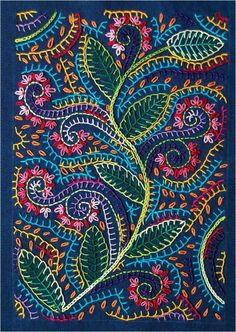 Crewel Embroidery Patterns hand embroidery - Look at all that lovely blanket stitch, my favorite! Crewel Embroidery, Hand Embroidery Patterns, Embroidery Applique, Cross Stitch Embroidery, Machine Embroidery, Embroidery Designs, Floral Embroidery, Hand Embroidery Projects, Japanese Embroidery