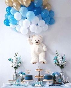 Baby Shower Balloons – An Easy & Cost Effective Way To Creat.-Baby Shower Balloons – An Easy & Cost Effective Way To Create A Fabulous Baby Shower Baby shower balloons are amazing decorations for a girl, boy, and neutral showers. Baby Shower Wall Decor, Idee Baby Shower, Shower Bebe, Unique Baby Shower, Girl Shower, Baby Shower Gifts, Baby Decor, Baby Shower Boys, Baby Shower Table Set Up